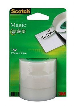 3 Rolls of Magic Cellotape, Sticky Tape, Scotch Tape Refill Roll 8-1925 FREE P&P